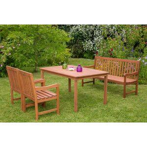 MERXX Gartenmöbelset »Santos«, 4tlg., 2 Sessel, Bank, Tisch, Eukalyptusholz