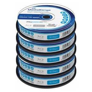 MediaRange Blu-ray Disc Mediarange BD-R 25 GB, 6x Speed fullprintable in Cakebox, 50 piece