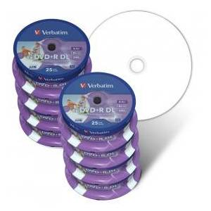 Verbatim DVD Double Layer DVD+R DL 8.5 GB / 240 min 8x, Full printable White No ID, 200-pack in 25 cakebox