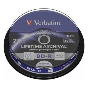 Verbatim M-DISC Blu-ray BD-R 25 GB / 135 min, 4x, Full printable, 10 pieces in cakebox