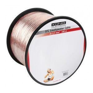 König OFC loudspeaker cable 2x 2.5 mm² on reel 100 m transparent