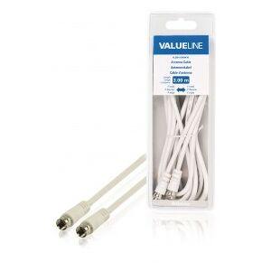 Valueline Antenna cable F male - F male 3.00 m white