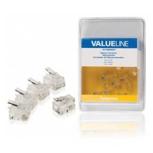 Valueline Telecom connector RJ11 male transparent