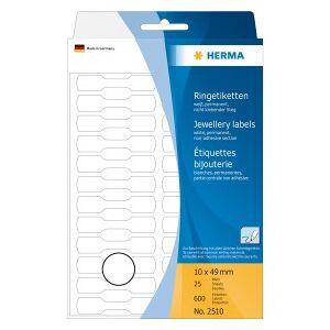 HERMA Multi-purpose ring labels 10x49 mm white semi-circle cardboard hand inscription 600 pcs.