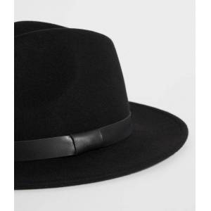 AllSaints Bronson Leather Fedora Hat  M/L