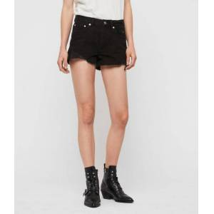 AllSaints Mai Destroyed High-Rise Denim Shorts  Size 26
