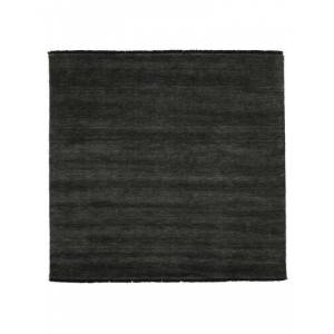 RugVista Handloom fringes - Black / Grey  rug 6′7″x6′7″ (200x200 cm) Modern, Square Carpet