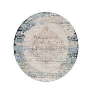 RugVista Alaska - Light Blue / Cream  rug  Ø 9′10″ ( Ø 300 cm) Oriental, Round Carpet