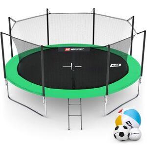 Hop-Sport Trampolína  14ft (427cm) zelená s vnitřní ochrannou sítí