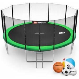 Hop-Sport Trampolína  16ft (488cm) zelená s venkovní ochrannou sítí