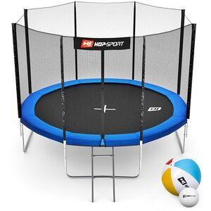 Hop-Sport Trampolína  10ft (305cm) modrá s vnější ochrannou sítí - 4 podpůrné tyče