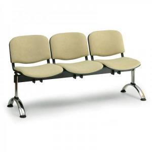 Kovo Praktik RAUMAN Čalouněné lavice VIVA, 3-sedák, chromované nohy oranžová