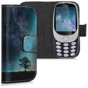 kwmobile Flipové pouzdro s designem strom pro Nokia 3310 3G 2017 / 4G 2018 - modrá