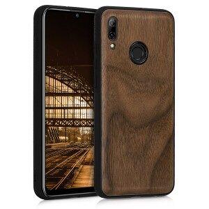 kwmobile Dřevěné pouzdro pro Huawei P Smart (2019) - tmavě hnědá