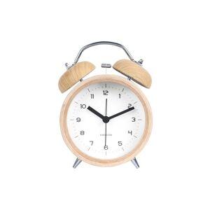Karlsson Bílý budík v dřevěném dekoru Karlsson Classic Bell, ⌀10cm