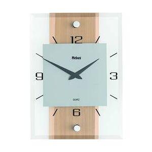Mebus Analogové nástěnné hodiny, 18220, 20 x 28 x 5 cm, dřevo/sklo/hliník, buk