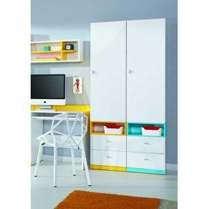 Meblar Dětská skříň mobi mo 3 l/p (bílá lesk/žlutá)