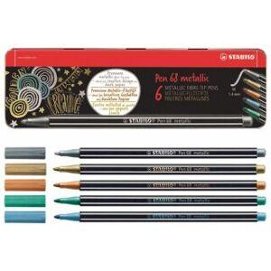 STABILO Fixa STABILO Pen 68 metalic sada 6 ks v kovovém pouzdru