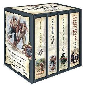 Anaconda Verlag Die großen Klassiker der Abenteuerliteratur (im Schuber) - Robinson Crusoe - Moby Dick - Die Schatzinsel - Tom Sawyer & Huckleberry Finn - Daniel Defo