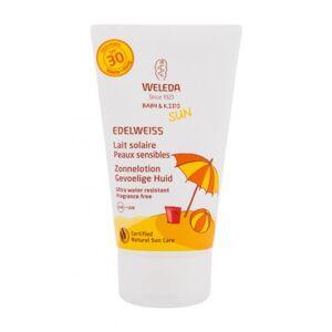 Weleda Baby & Kids Sun Edelweiss Sunscreen Sensitive SPF30 150 ml opalovací přípravek na tělo voděodolná; BIO přírodní produkt