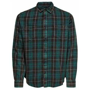 ONLY&SONS Pánská košile ONSOLSEN LS YD ACID WASH CHECK REG SHIRT Forest Night XL
