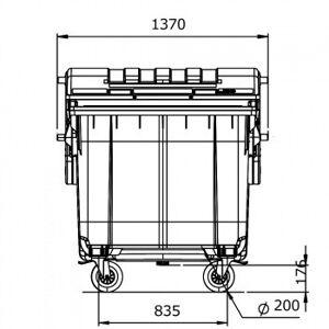 B2B Partner Plastový kontejner na odpady cle 1100, tmavě šedá