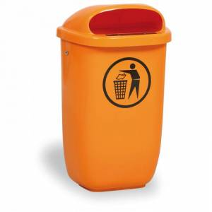 B2B Partner Venkovní odpadkový koš na sloupek, oranžový