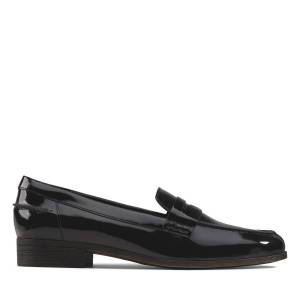 Clarks Flat Shoes - Hamble Loafer Black Patent 35.5