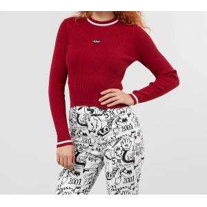 Lazy Oaf Burning Rubber Long Sleeve Top Red