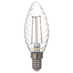 Sylvania LED svíčka E14 ToLEDo 2,5W 827 čirá, kroucená