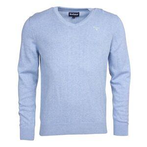Barbour Lehký svetr z pima bavlny Barbour Pima Cotton V-Neck - světle modrý - M