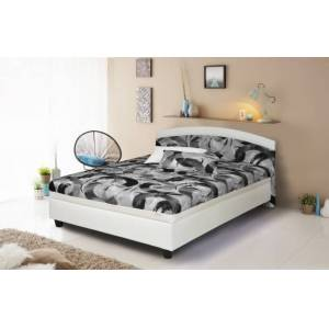 Nábytek Pohoda Čalouněná čalouněná postel zonda 120x200,šedá,bílá, vč. matrace a úp