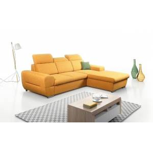 Meble Laski Rohová sedačka rozkládací lenti pravý roh úp žlutá