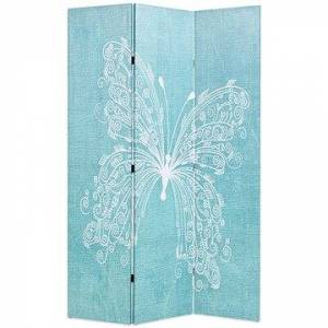 Skládací paraván 120 x 170 cm motýl modrý