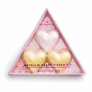 I Heart Revolution Metallic Heart Fizzer Kit Doplňky pro koupání 120 g