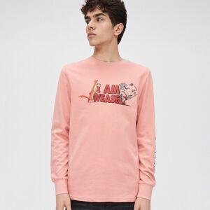 Cropp - Tričko s dlouhými rukávy I am Weasel - Růžová - pánské - YK595-30X