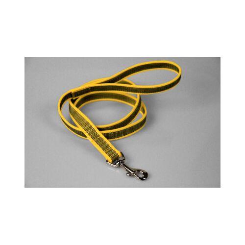 Gummierte gelbe Hundeleine   Handschlaufe   2 x 200 cm