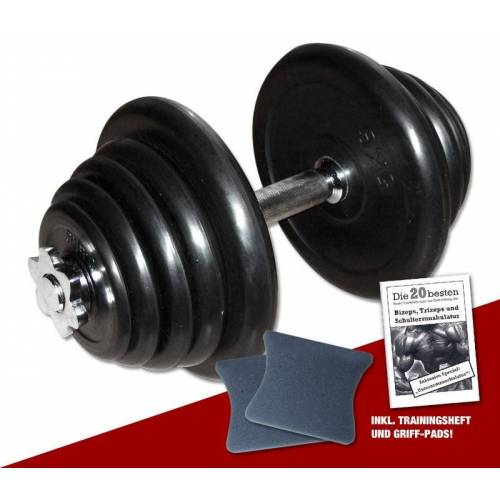 Megafitness Shop Gummi-Kurzhantel 25 kg - 23-fach verstellbar!