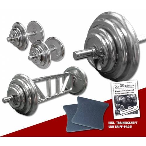Megafitness Shop Chrom - Mega Bizeps-Trizeps-Set - 78 kg