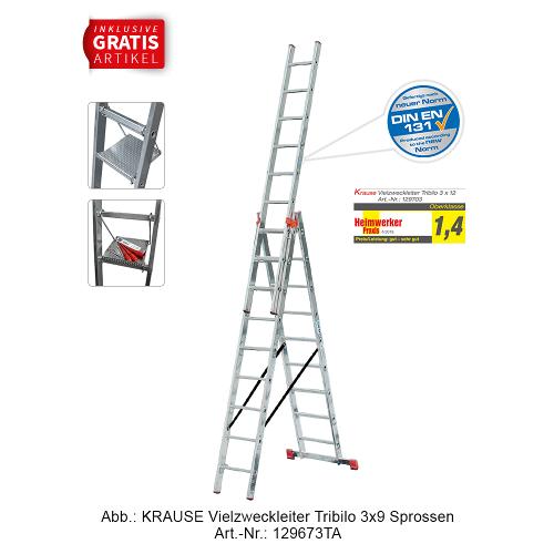KRAUSE Tribilo Vielzweckleiter 3x10 inkl. Tritt/Ablage (gefertigt nach neuer Norm)
