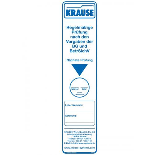 KRAUSE Prüfaufkleber für Leitern und Tritte - Größe 56 x 230 mm - 10 Stück