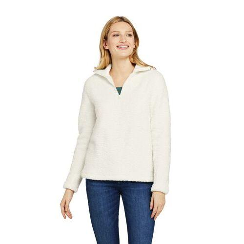 Lands' End Zipper-Pullover aus Teddyfleece  - Weiß - 44-46 von Lands' End