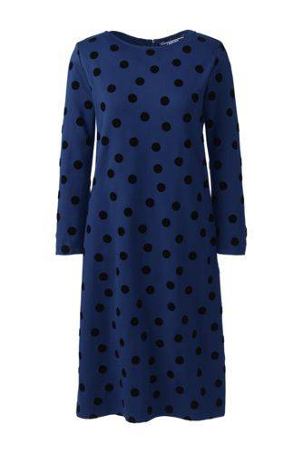 Lands' End Gepunktetes Ponté-Kleid mit Flock-Print - Blau - 36 von Lands' End