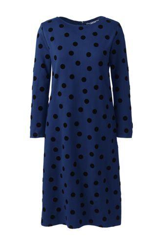 Lands' End Gepunktetes Ponté-Kleid mit Flock-Print - Blau - 36 von Lands' End