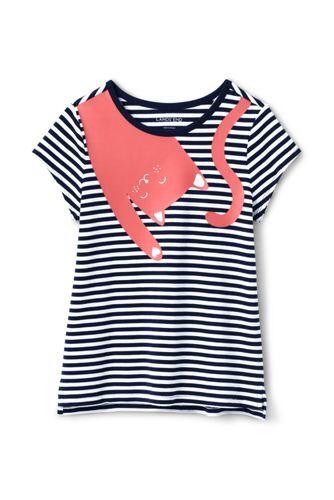 Lands' End Gestreiftes Grafik-Shirt mit Katze für große Mädchen - Sonstige - 128/134 von Lands' End