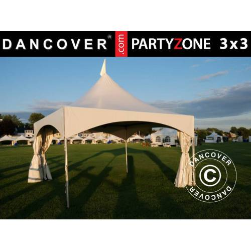 Dancover Pagoden-Partyzelt Festzelt PartyZone 3x3m, PVC, weiß