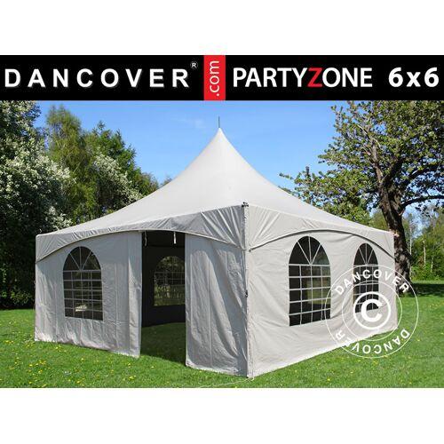 Dancover Pagoden-Partyzelt Festzelt PartyZone 6x6m, PVC, weiß