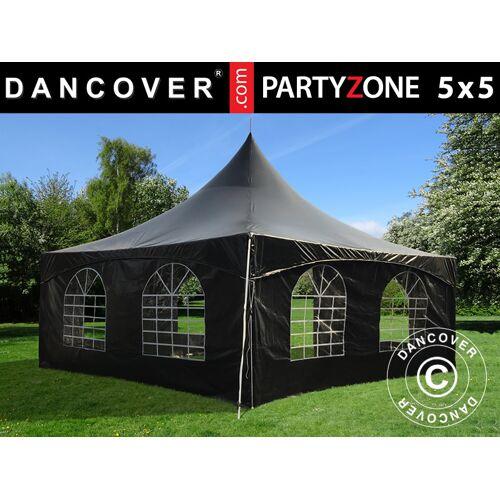 Dancover Pagoden-Partyzelt Festzelt PartyZone 5x5m, PVC, schwarz