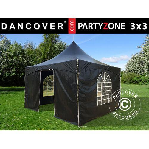 Dancover Pagoden-Partyzelt Festzelt PartyZone 3x3m, PVC, schwarz