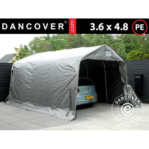 Dancover Zeltgarage Lagerzelt Garagenzelt PRO 3,6x4,8x2,68m, PE, Grau